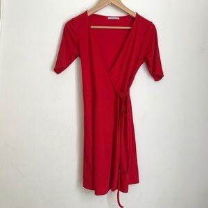 Zara Trafaluc Red Wraparound Short Sleeve Dress S